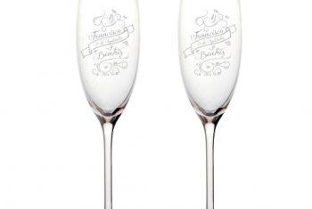 Copa de champagne grabado laser - mas que sellos