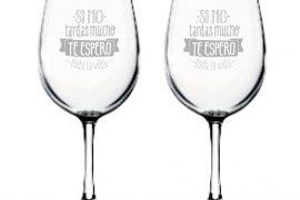 Copa de vino grabado laser - mas que sellos